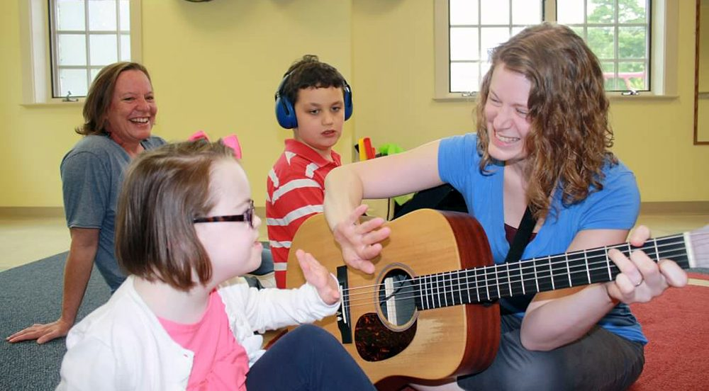 SSC Music Therapist Kari O'Briant working with young students